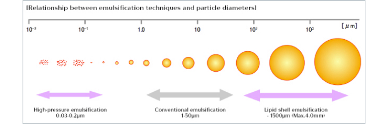 [Relationship between emulsification techniques and particle diameters]