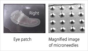 Eye patch Magnified image of microneedles
