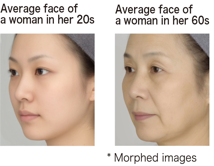 Average face of a woman in her 20s,Average face of a woman in her 60s